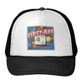 Blue J First-Ade Orange Vintage Label Trucker Hat