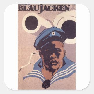 Blue Jacken  Propaganda Poster Square Sticker