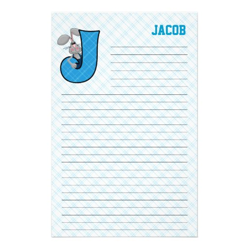 "Blue Jackrabbit Mongram ""J"" Lined Stationery"