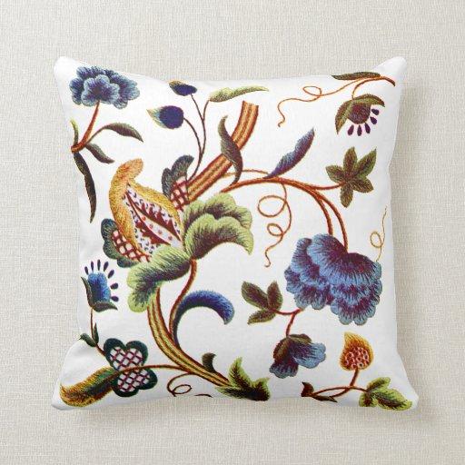 Blue Jacobean Crewel Embroidery Pillow Zazzle