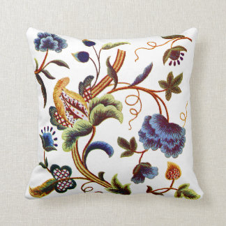 Blue Jacobean Crewel Embroidery Throw Pillow