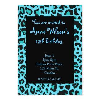 Blue Jaguar Print Girls Invitation
