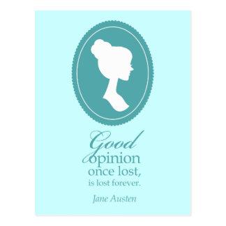 Blue Jane Austen Good Opinion Lost Quote Gift Postcard