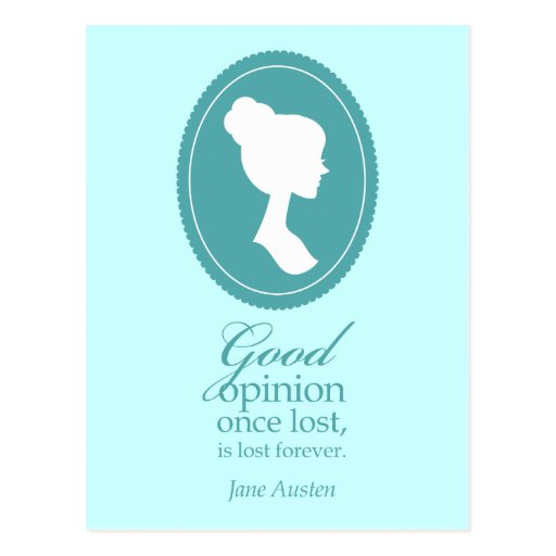 Blue Jane Austen Good Opinion Lost Quote Gift Post Card