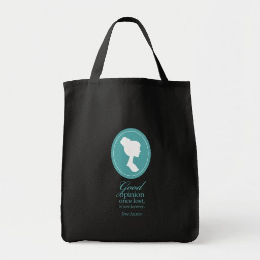 Blue Jane Austen Good Opinion Lost Quote Gift Tote Bag