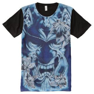 Blue Japanese Demon Spirit Mask Acrylic Paint All-Over-Print T-Shirt
