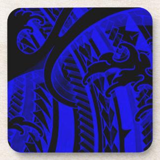 Blue japanese finger waves and tribal tatoo design drink coaster