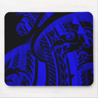 Blue japanese finger waves and tribal tatoo design mouse pad