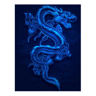 BLUE JAPANESE NEON DRAGON POSTCARD