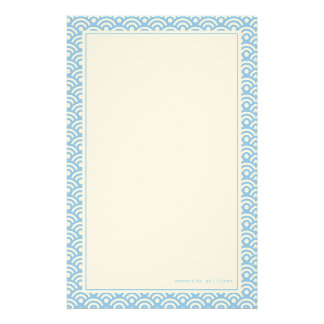 Blue Japanese Seigaiha Pattern Custom Stationery