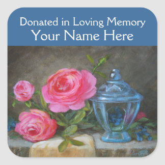 Blue Jar Donated in Memory Square Stickers