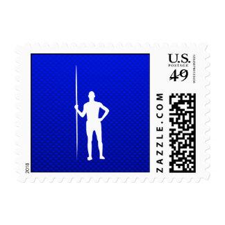 Blue Javelin Throw Postage Stamp