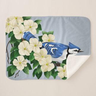 Blue Jay Among Dogwood Flowers Sherpa Blanket
