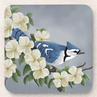 Blue Jay Among Flowers Drink Coaster