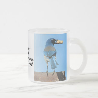 Blue Jay and a Peanut Frosted Glass Coffee Mug