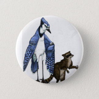 Blue Jay and Raccoon Enjoy a Latte... on a Button. Pinback Button