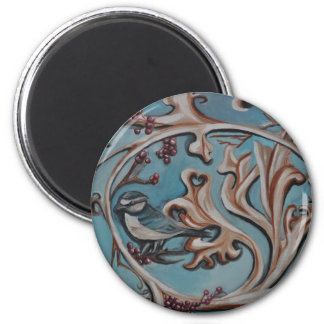 Blue Jay and Scrolls 2 Inch Round Magnet