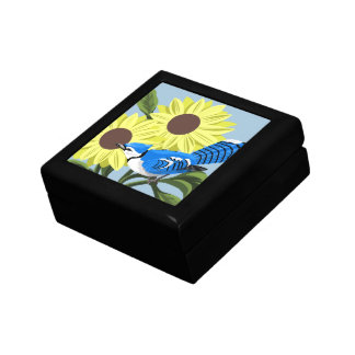 Blue Jay and Sunflowers Keepsake Box