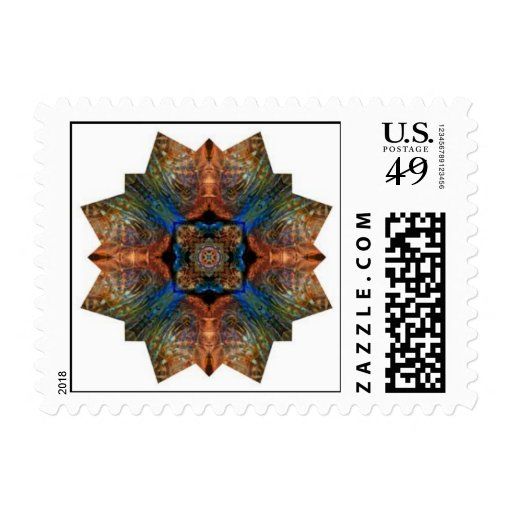 letter of experience blue and turtle shell mandala custom stamp zazzle 28109
