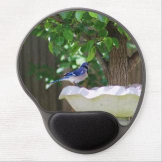 BLUE JAY AT BIRD BATH GEL MOUSE PAD
