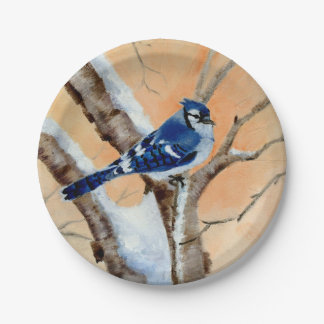 Blue Jay At Sunset 7 Inch Paper Plate