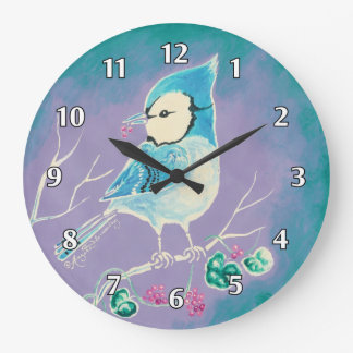 Blue Jay Bird On Tree With Berries Large Clock