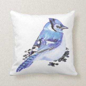 Blue Jay Bird, Watercolor Nature, Wildlife Pillows