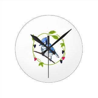 Blue Jay Blackberries Round Clock