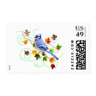Blue Jay & Fall Leaves Postage