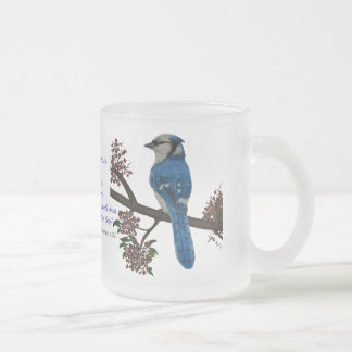 Blue Jay Frosted Glass Coffee Mug