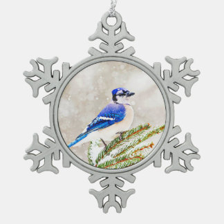 Blue jay in a pine tree with snow snowflake pewter christmas ornament