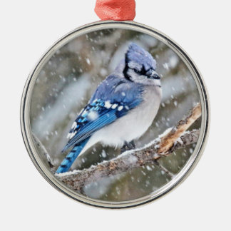 Blue Jay in a Snowstorm Metal Ornament