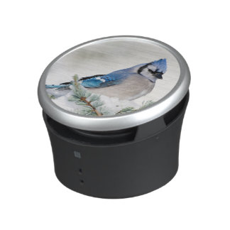 Blue Jay in Blue Atlas Cedar Bluetooth Speaker