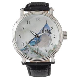 Blue Jay in Blue Atlas Cedar Wristwatch