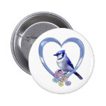 Blue Jay in Heart Buttons