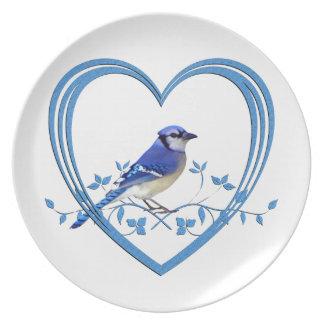 Blue Jay in Heart Dinner Plate