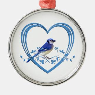 Blue Jay in Heart Metal Ornament