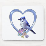 Blue Jay in Heart Mouse Pad