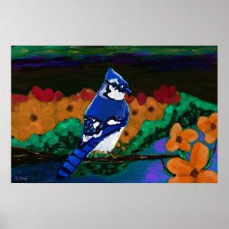 Blue Jay in Orange Flowers print