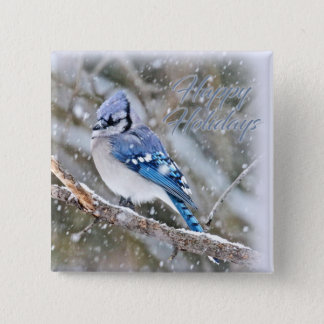 Blue Jay in Snow Christmas Holiday Pinback Button