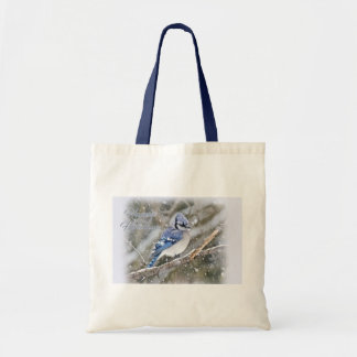 Blue Jay in Snow Christmas Holiday Tote Bag