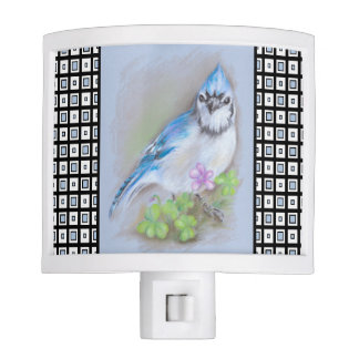 Blue Jay in Spring with Oxalis on Square Pattern Night Lite