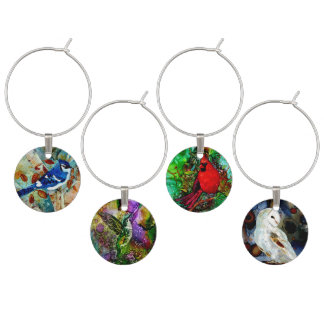 Blue Jay in the Tree Wine Glass Charm
