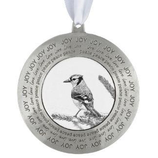 Blue Jay in Winter Sketch Ornament