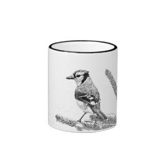 Blue Jay in Winter Sketch Ringer Mug
