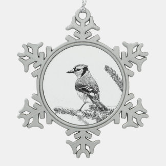 Blue Jay in Winter Sketch Snowflake Pewter Christmas Ornament