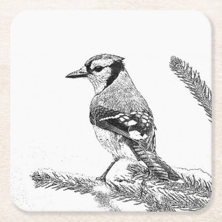 Blue Jay in Winter Sketch Square Paper Coaster