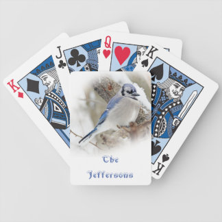 Blue Jay in Winter Snow Bicycle Playing Cards