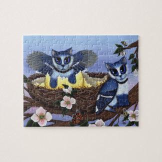 Blue Jay Kittens, Bird Cats Fantasy Art Puzzle