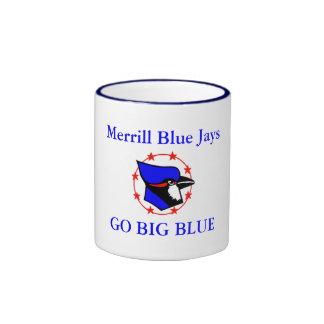 blue jay, Merrill Blue Jays, GO BIG BLUE Ringer Coffee Mug